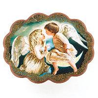 """Панно с рисунком из камня """"Два ангела"""" 34х26 см"""