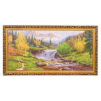 """Картина с каменной крошкой """"Горный ручей"""" багет 39х76 см ПИ22"""