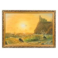"""Картина с каменной крошкой """"Ласточкино гнездо"""" багет 46х66 см ГА1"""
