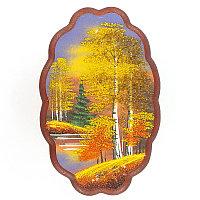 "Панно овальное ""Осенний пейзаж"" 30х19 см каменная крошка"