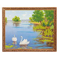 """Картина с каменной крошкой """"Лебеди"""" багет 46х56 см 49087"""