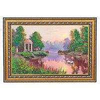 """Картина с каменной крошкой """"Утренний парк"""" багет 24х34 см ПИ19"""