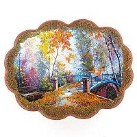 "Панно с рисунком из камня ""Мост в парке"" 34х26 см"