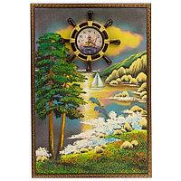"""Часы с картиной """"Дельфины на закате"""" 45х65 см каменная крошка"""