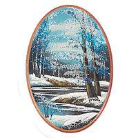 """Панно с рисунком из камня """"Зимний пейзаж"""" овальное 25х17 см"""