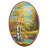 "Панно с рисунком из камня ""Осенний пейзаж"" овальное 25х17 см"