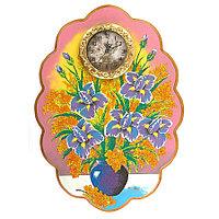"""Часы с картиной """"Ирисы"""" 48х66 см каменная крошка"""