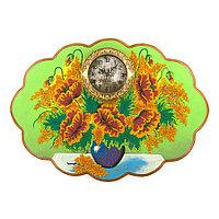 """Часы с картиной """"Букет маков"""" 66х48 см каменная крошка"""