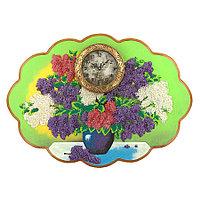 """Часы с картиной """"Сирень на столе"""" 66х48 см рисунок каменная крошка"""
