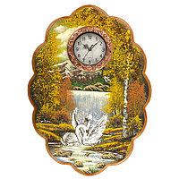 """Часы с картиной """"Лебеди у водопада"""" 48х66 см каменная крошка"""