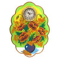 """Часы с картиной """"Яркие маки"""" 48х66 см рисунок каменная крошка"""