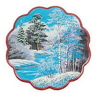 "Панно с рисунком из камня ""Зимний пейзаж"" круглое 36x36 см"