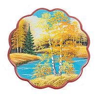 """Панно с рисунком из камня """"Осенний пейзаж"""" круглое 36x36 см"""