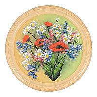 """Панно на тарелке из дерева """"Букет полевых цветов"""" 40 см рисунок каменная крошка"""