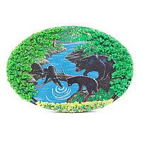 "Панно из камня на подставке ""Медведи у ручья"" 19х3,5х13 см"