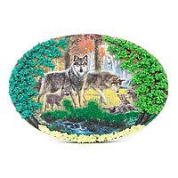 """Панно из камня на подставке """"Волчья семья"""""""