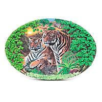 """Панно из камня на подставке """"Тигриная семья"""""""