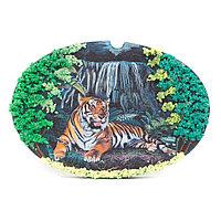 """Панно из камня на подставке """"Тигр у водопада"""""""