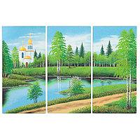 "Картина модульная на камне ""Церковь у озера"" 40х60 см"