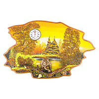 """Часы с картиной """"Медведь осень"""" 50х32 см каменная крошка"""