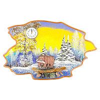 """Часы с картиной """"Медведь с рыбой зима"""" 50х32 см каменная крошка"""