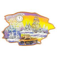 """Часы с картиной """"Медведь идет зима"""" 50х32 см каменная крошка"""