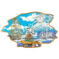 "Часы с картиной ""Кабан зима"" 50х32 см каменная крошка"