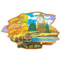 """Часы с картиной """"Кабан осень"""" 50х32 см каменная крошка"""