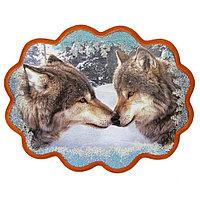 """Панно с рисунком из камня """"Волки"""" 34х26 см"""