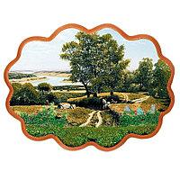 "Панно с рисунком из камня ""Дорога к реке"" 34х26 см"