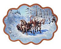 "Панно с рисунком из камня ""Зимняя тройка"" 34х26 см"