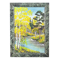 "Картина из камня ""Осенний пейзаж"" рамка змеевик 13х18 см"