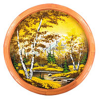 """Панно каменное на тарелке из дерева """"Осенняя ночь"""" 50 см"""