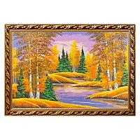 "Картина ""Осенний пейзаж"" багет №9 60х90 см, рисунок каменная крошка"