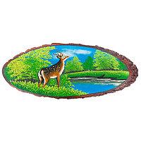 """Картина на срезе дерева """"Олень у реки лето"""" 75-80 см каменная крошка"""