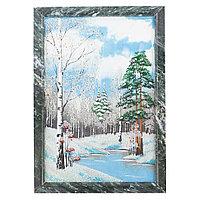"""Картина из камня """"Зимний пейзаж"""" вертикальная рамка змеевик 20х30 см"""