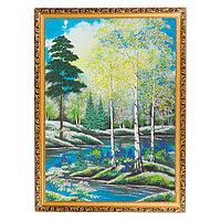 """Картина """"Весенний пейзаж"""" багет 56х76 см вертикальная, каменная крошка"""