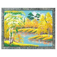 "Картина из камня ""Осенний пейзаж"" рамка змеевик 34х44 см"