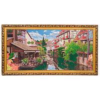 """Картина с каменной крошкой """"Течение города"""" багет 58х108 см К838"""