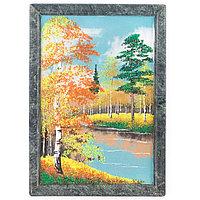 """Картина из камня """"Осенний пейзаж"""" вертикальная рамка змеевик 24х34 см"""
