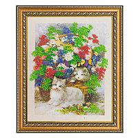 """Картина с каменной крошкой """"Котята в цветах"""" багет 32х38 см 4958"""