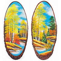 """Панно на срезе дерева """"Осень"""" вертикальное 70-75 см каменная крошка"""