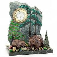 """Часы """"Медведица с медвежонком"""" змеевик"""