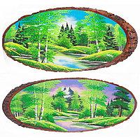 """Панно на срезе дерева """"Лето"""" горизонтальное 60-65 см каменная крошка"""