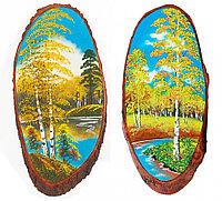 """Панно на срезе дерева """"Осень"""" вертикальное 55-60 см каменная крошка"""