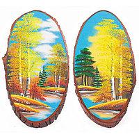 """Картина на срезе дерева """"Осенний пейзаж"""" вертикальное 45-50 см рисунок каменная крошка"""