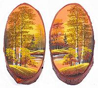 """Панно на срезе дерева """"Осень янтарная"""" вертикальное 45-50 см каменная крошка"""