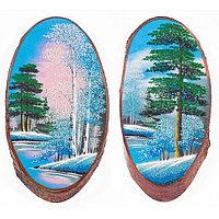 """Панно на срезе дерева """"Зима"""" вертикальное 30-35 см каменная крошка"""