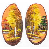 """Панно на срезе дерева """"Золотая осень"""" вертикальное 25-30 см каменная крошка"""