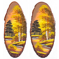 """Панно на срезе дерева """"Осень золотая"""" вертикальное 65-70 см каменная крошка"""